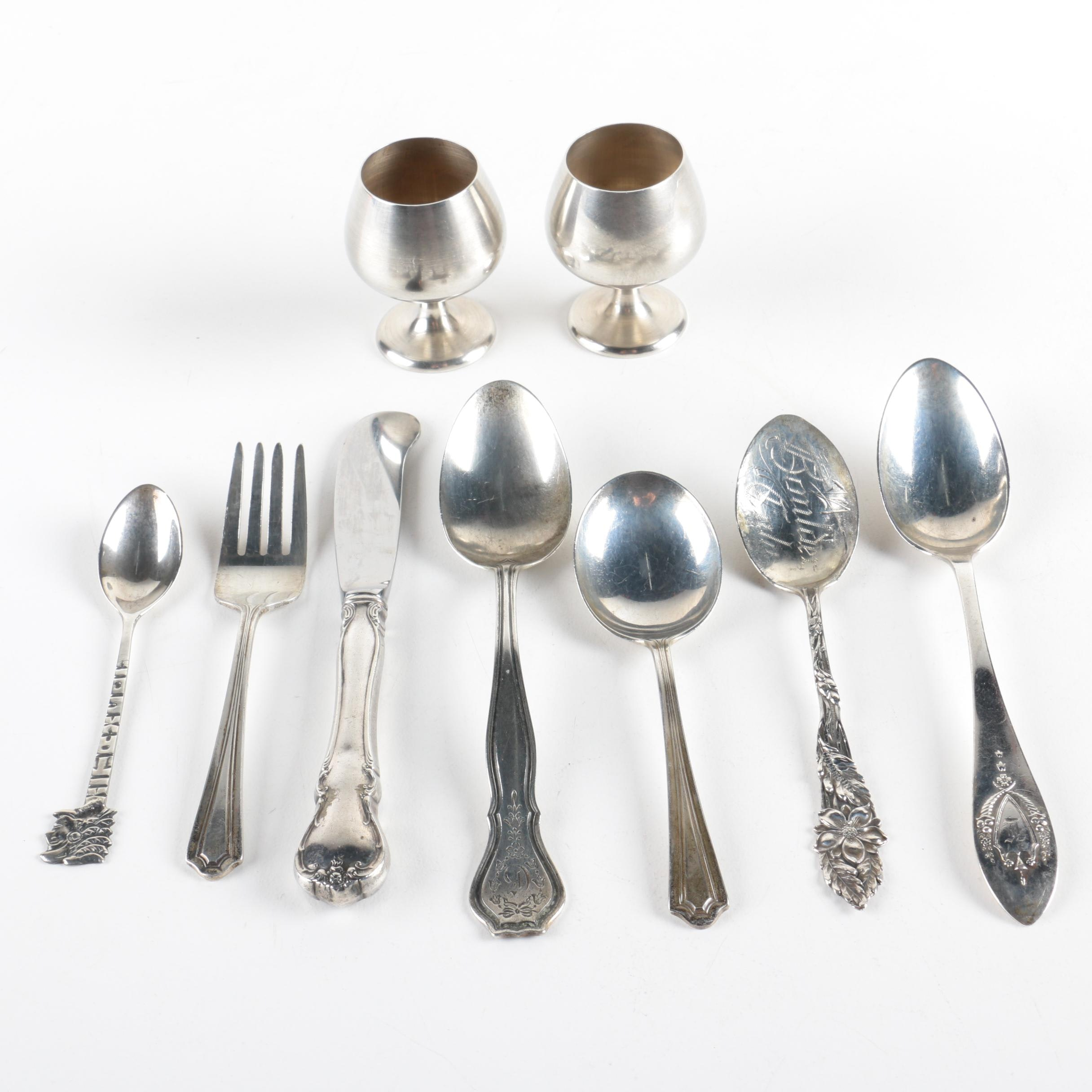 Gorham Sterling Cordials with Towle, Wallace and Other Sterling Flatware