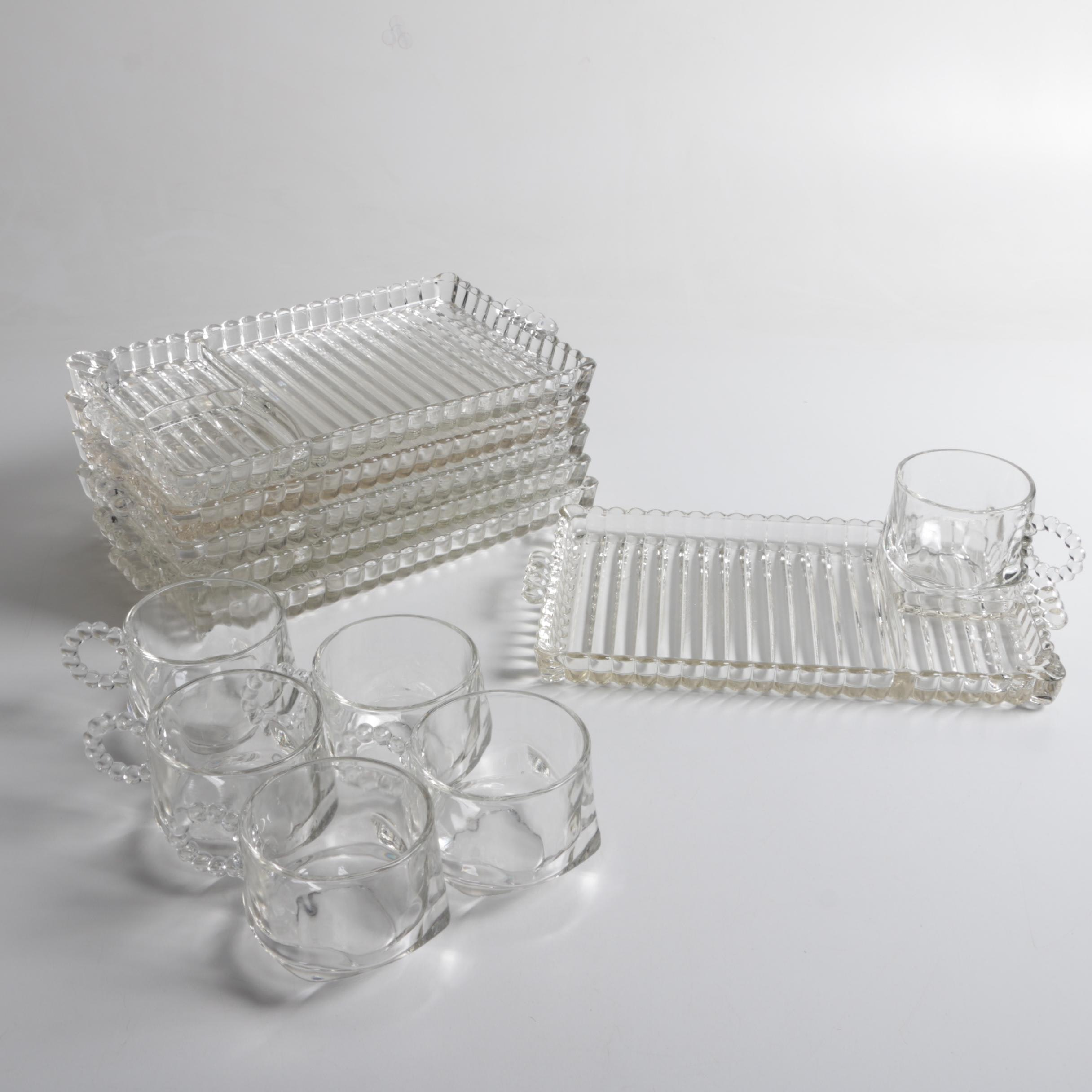 """Mid 20th Century Hazel Atlas Glass Co. """"Orchard Crystal"""" Party Tray and Cup Sets"""