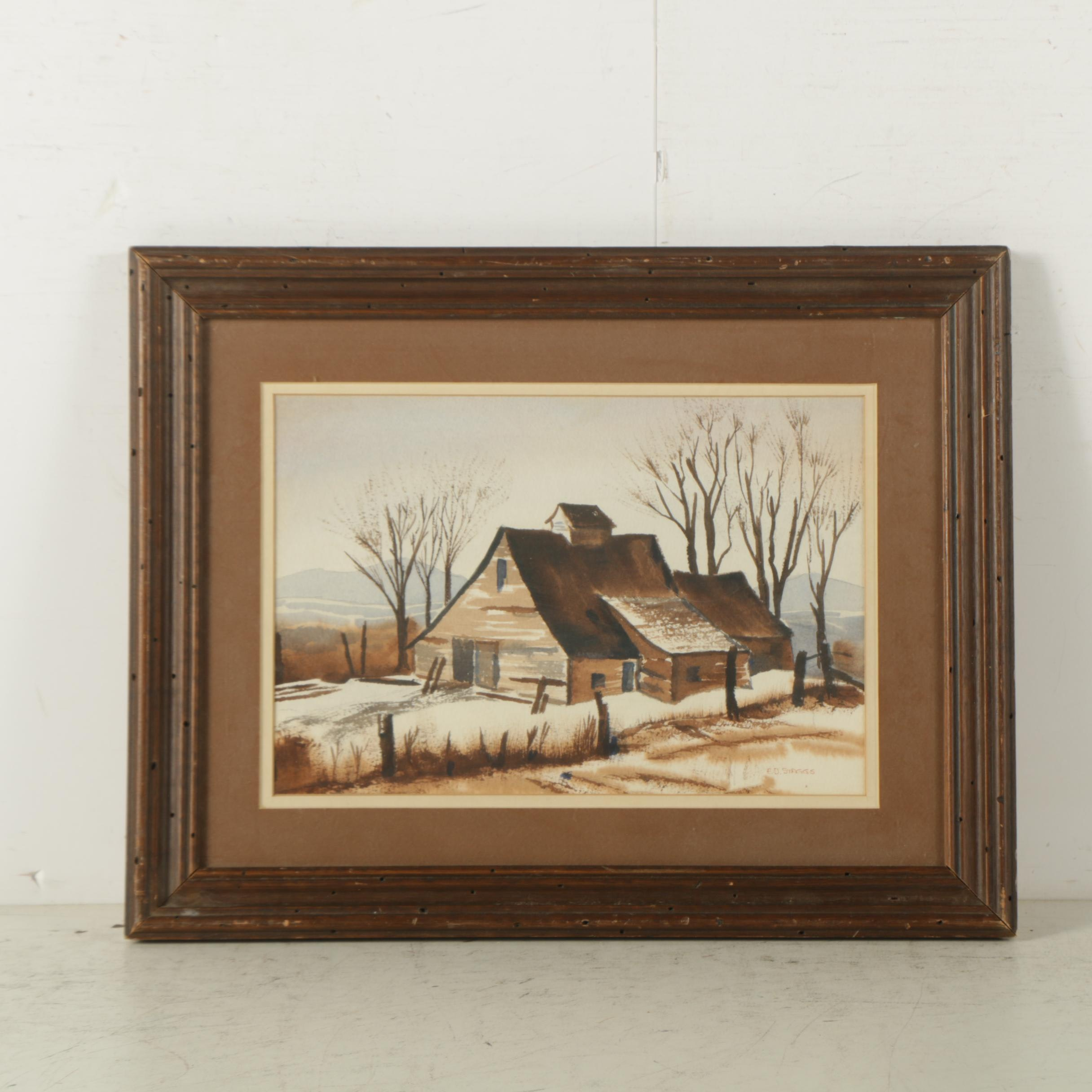 E.D. Staggs Watercolor and Gouache Painting on Paper of Winter Landscape