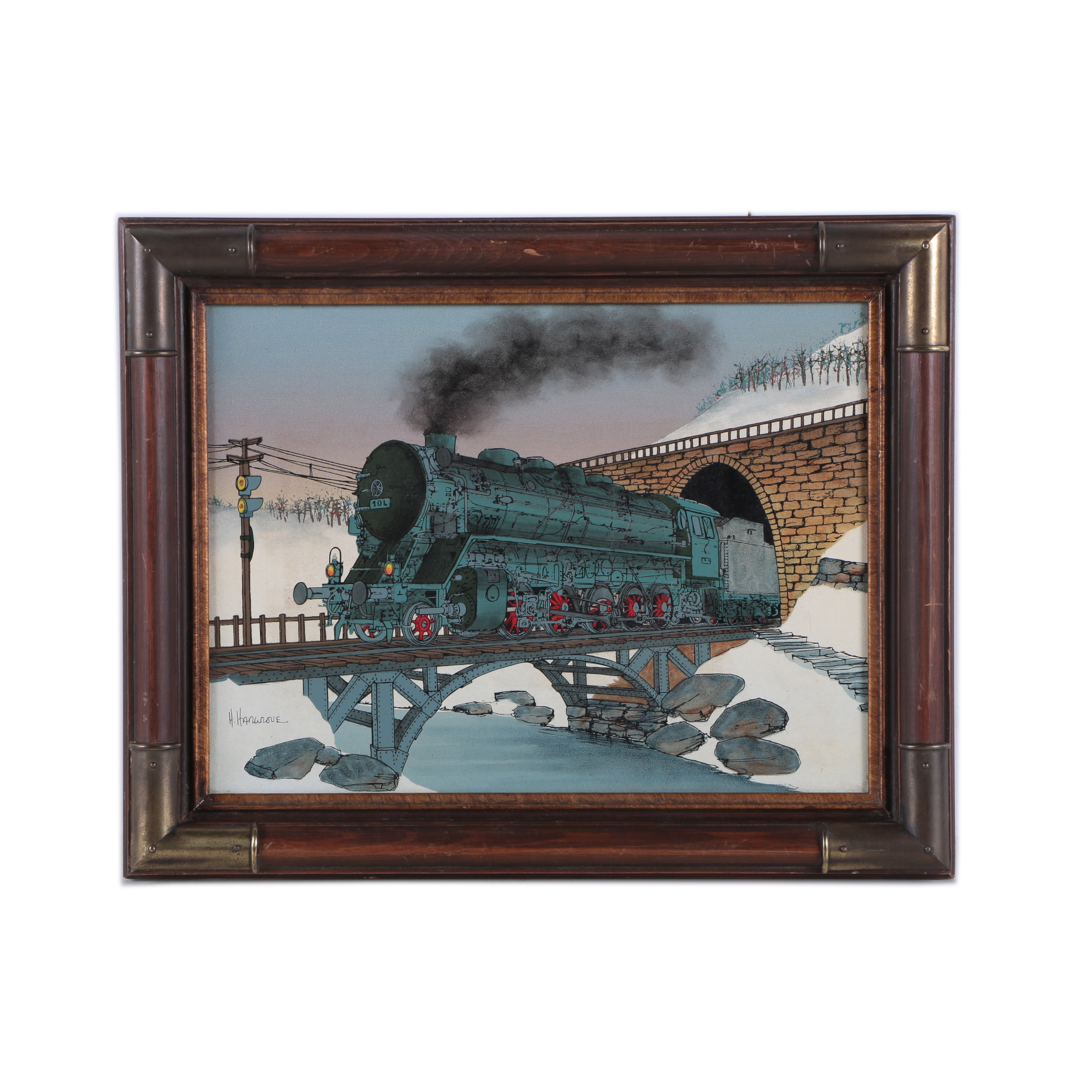 H. Hargrove Oil Painting on Canvas of Train in Winter Landscape