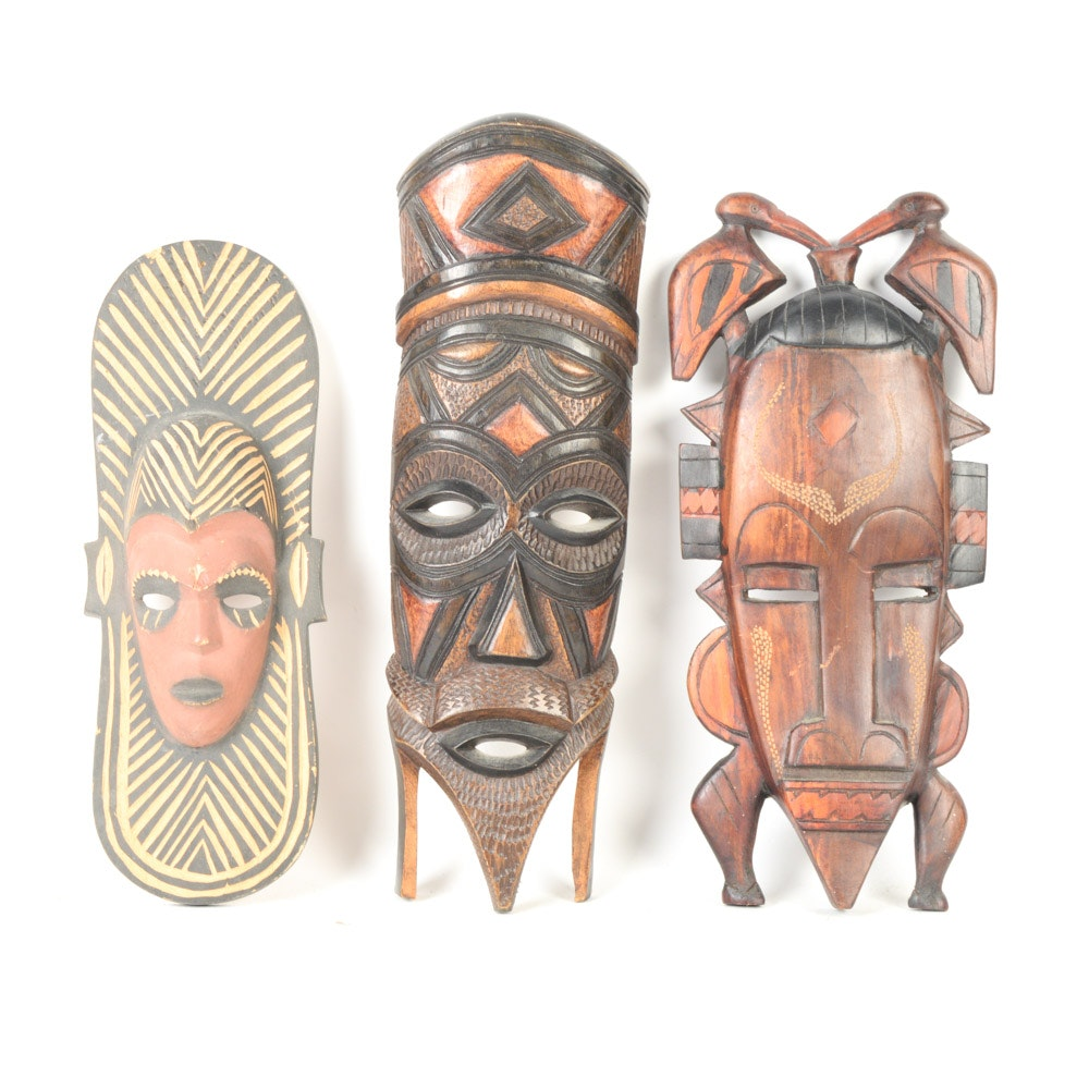 Collection of African Hand Carved Wooden Masks