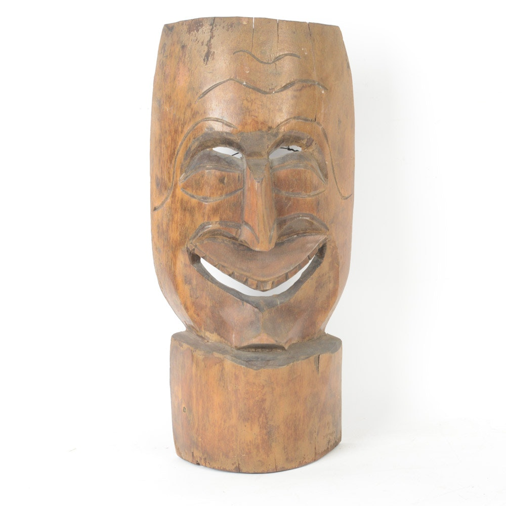 Polynesian Hand-Carved Wooden Mask