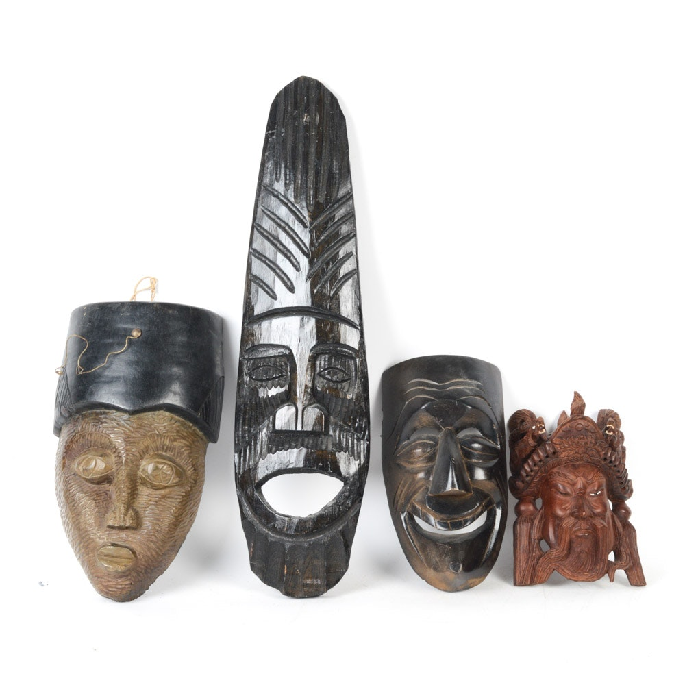 Grouping of Hand Carved Wooden Masks