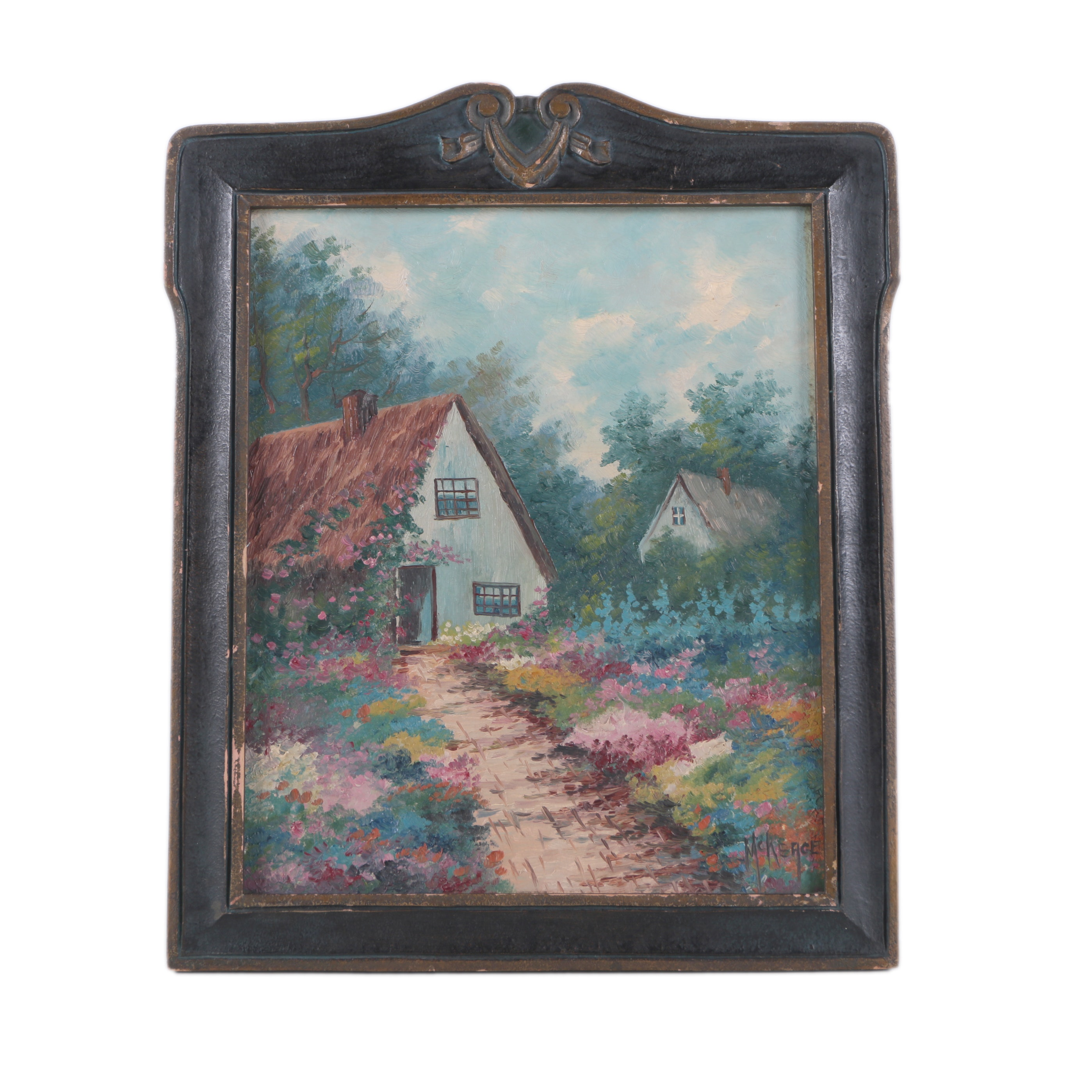 McKeage Mid-Century Oil Painting on Board of Cottage and Garden