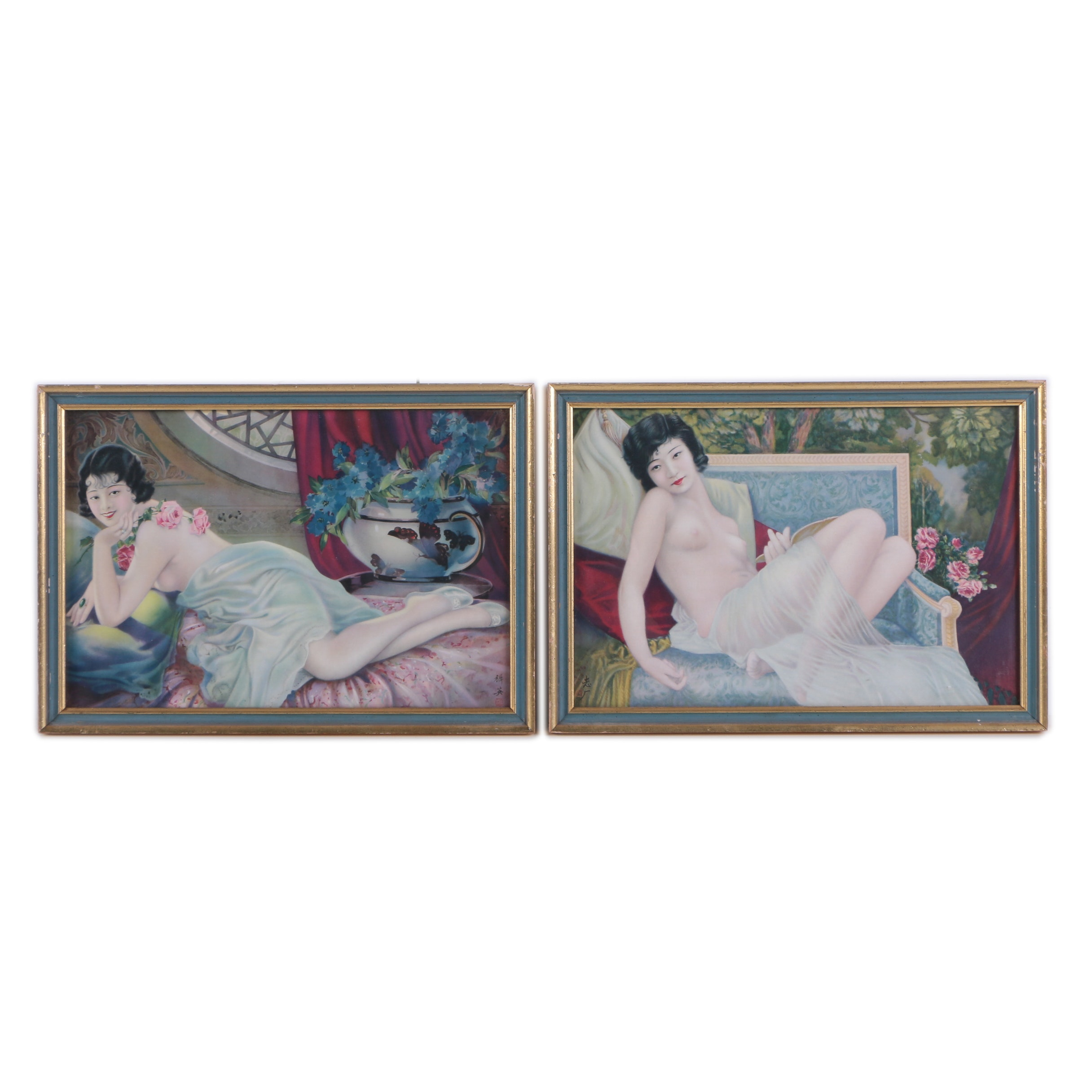 Two Offset Lithograph Prints of Reclining Nudes