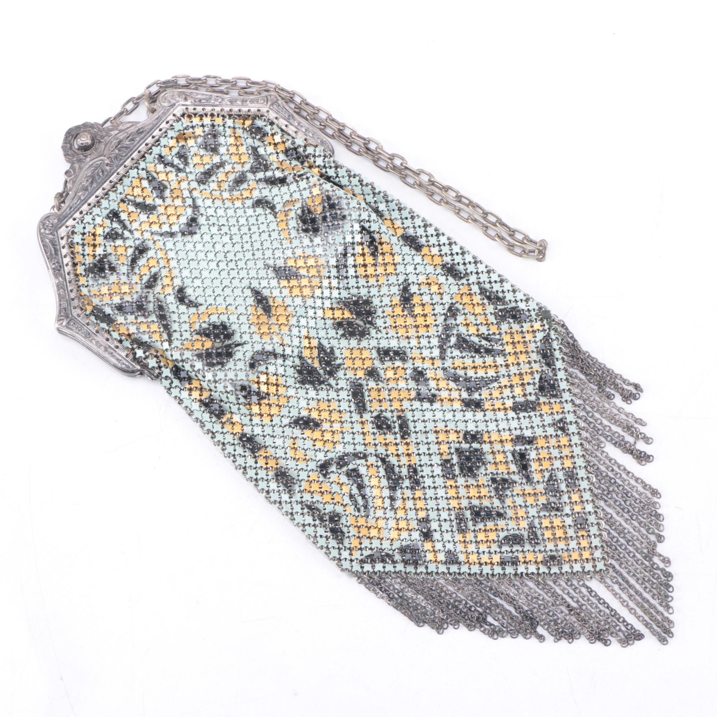 Circa 1920s Vintage Mandalian Enameled Mesh Handbag