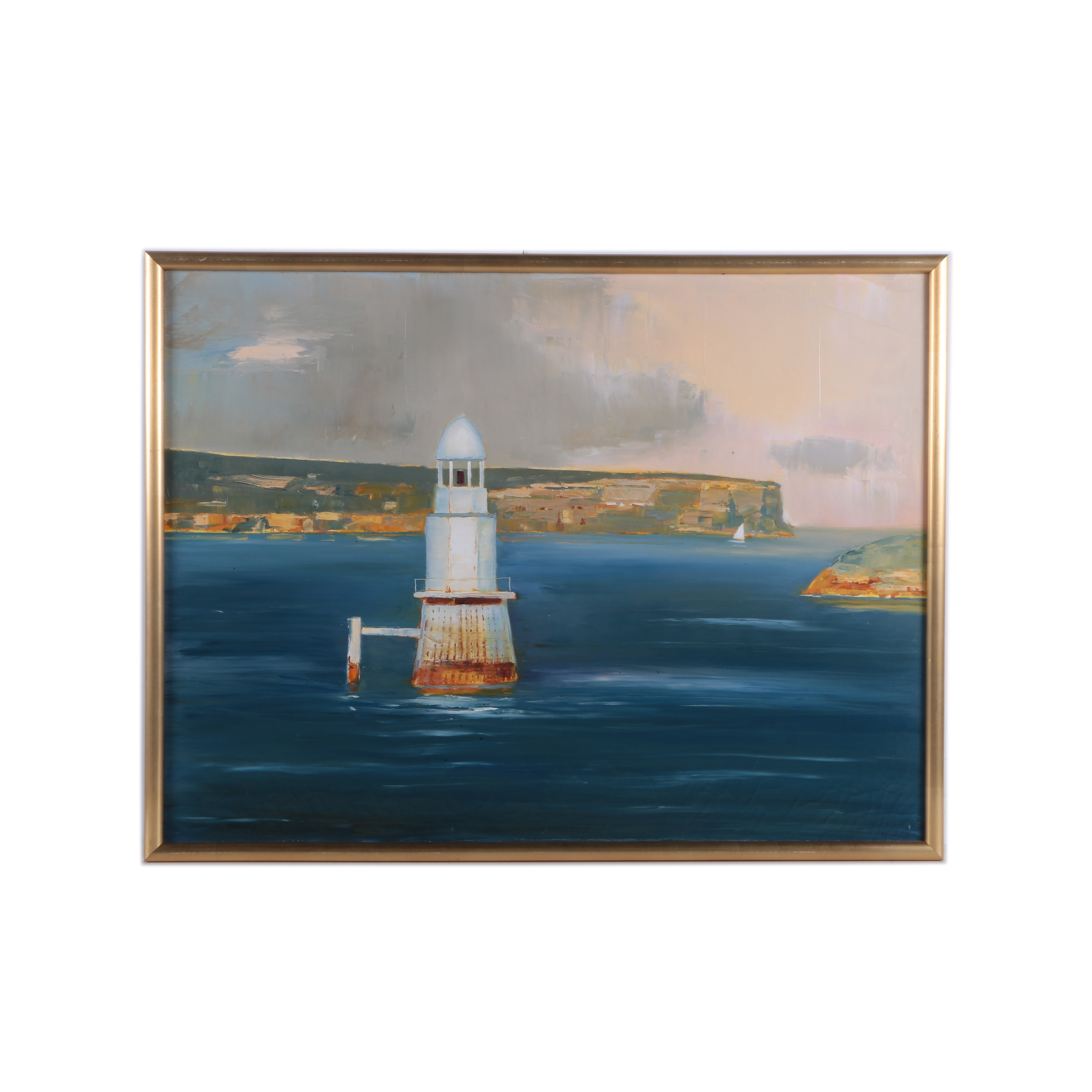 R. Dupain Oil Painting on Canvas Landscape of a Lighthouse
