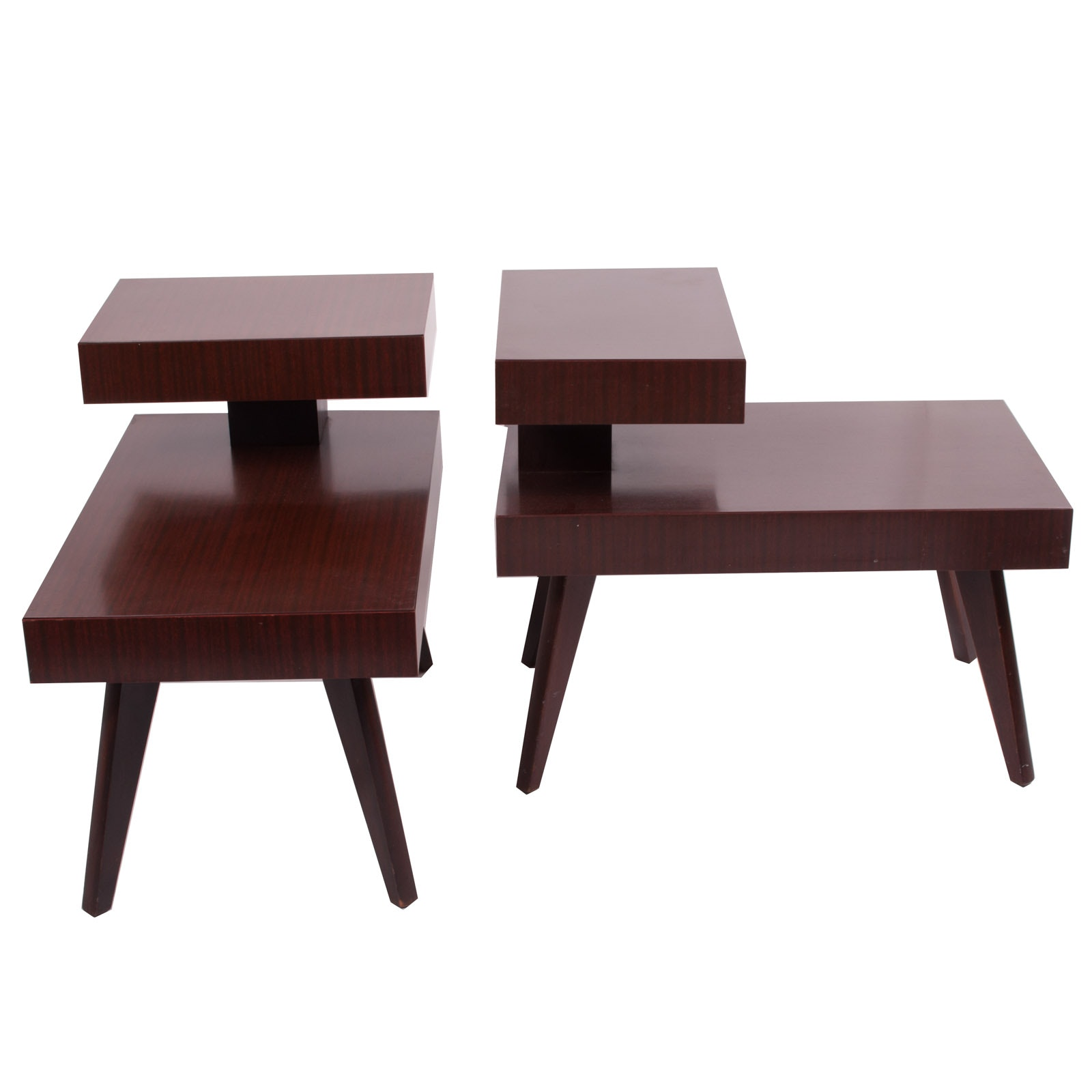 Pair of Mid Century Modern Tiered Laminate Side Tables by Philcraft
