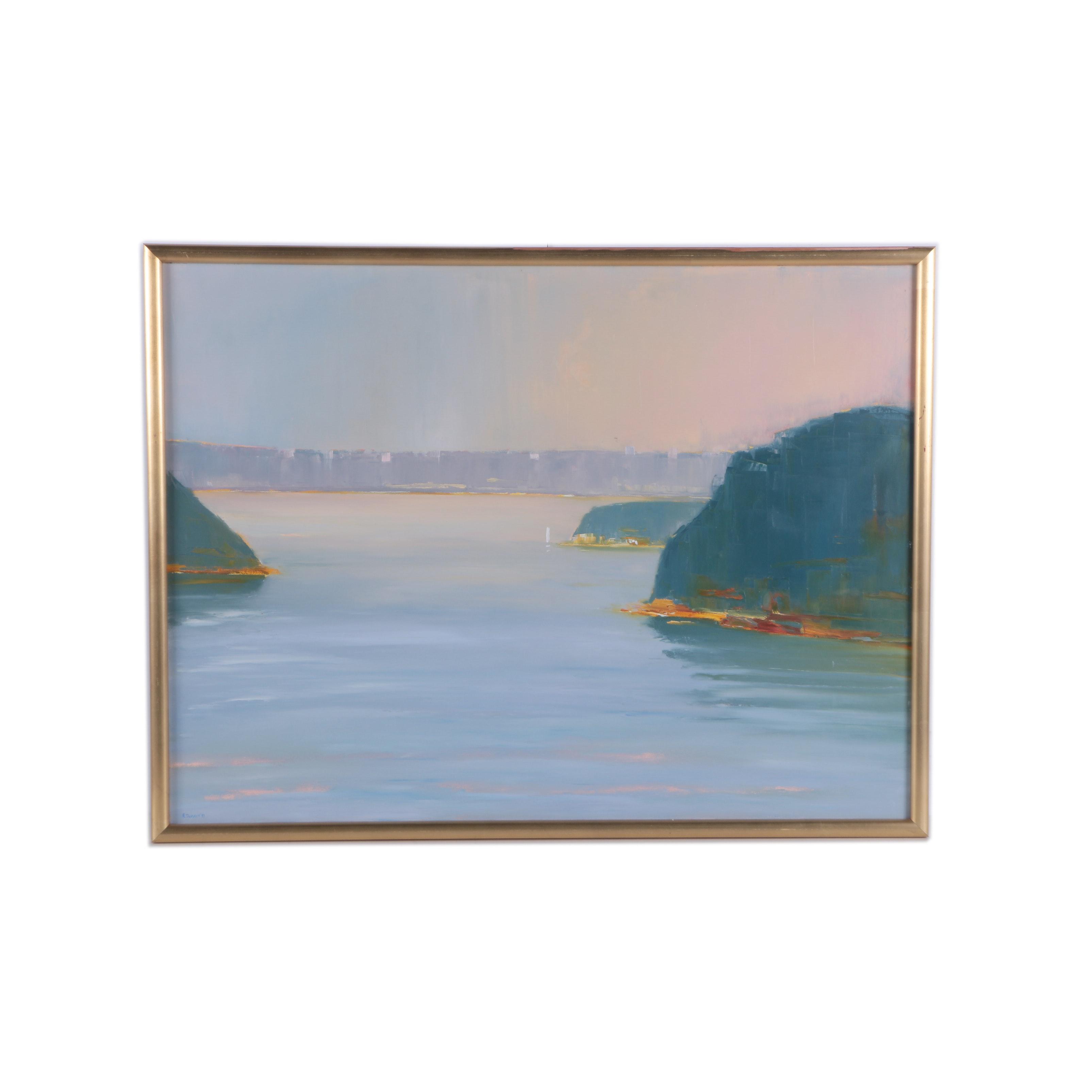 R. Dupain Oil Painting on Canvas Landscape of a Shore