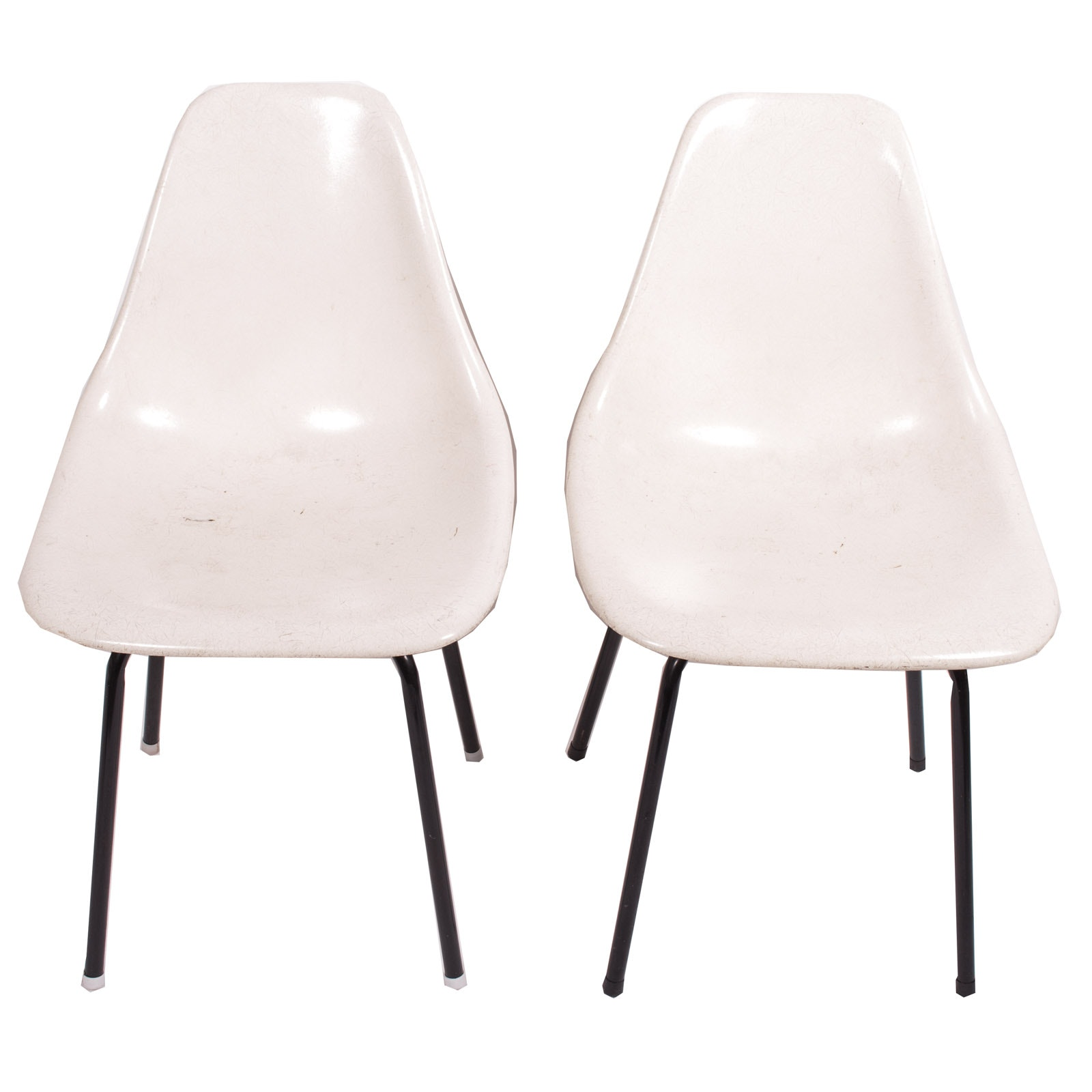 Vintage Mid Century Modern Eames Style Fiberglass Shell Side Chairs