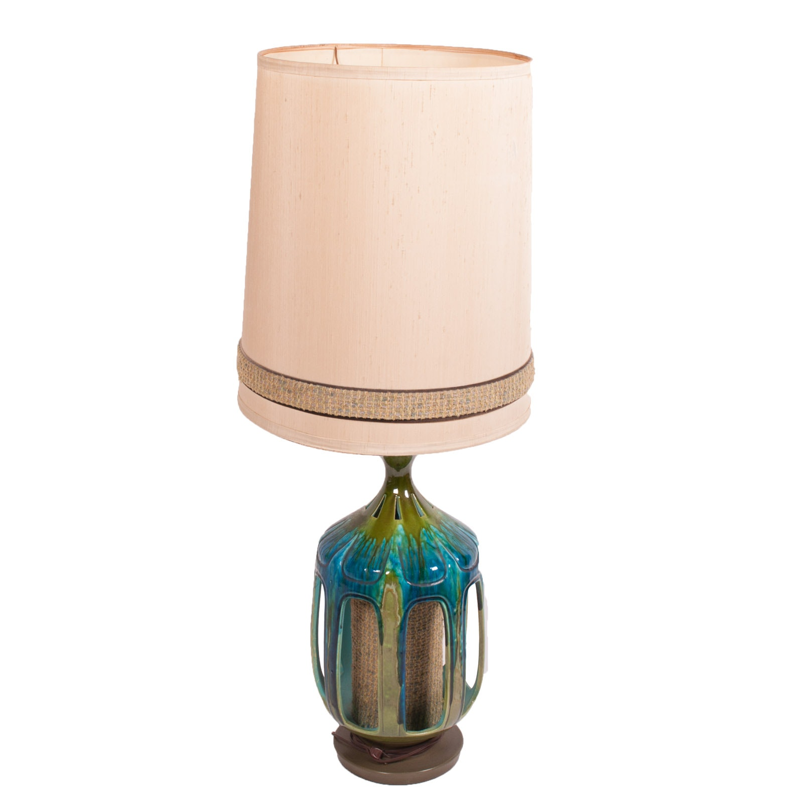 Vintage Mid Century Modern Drip Glaze Ceramic Table Lamp by Honi Chilo