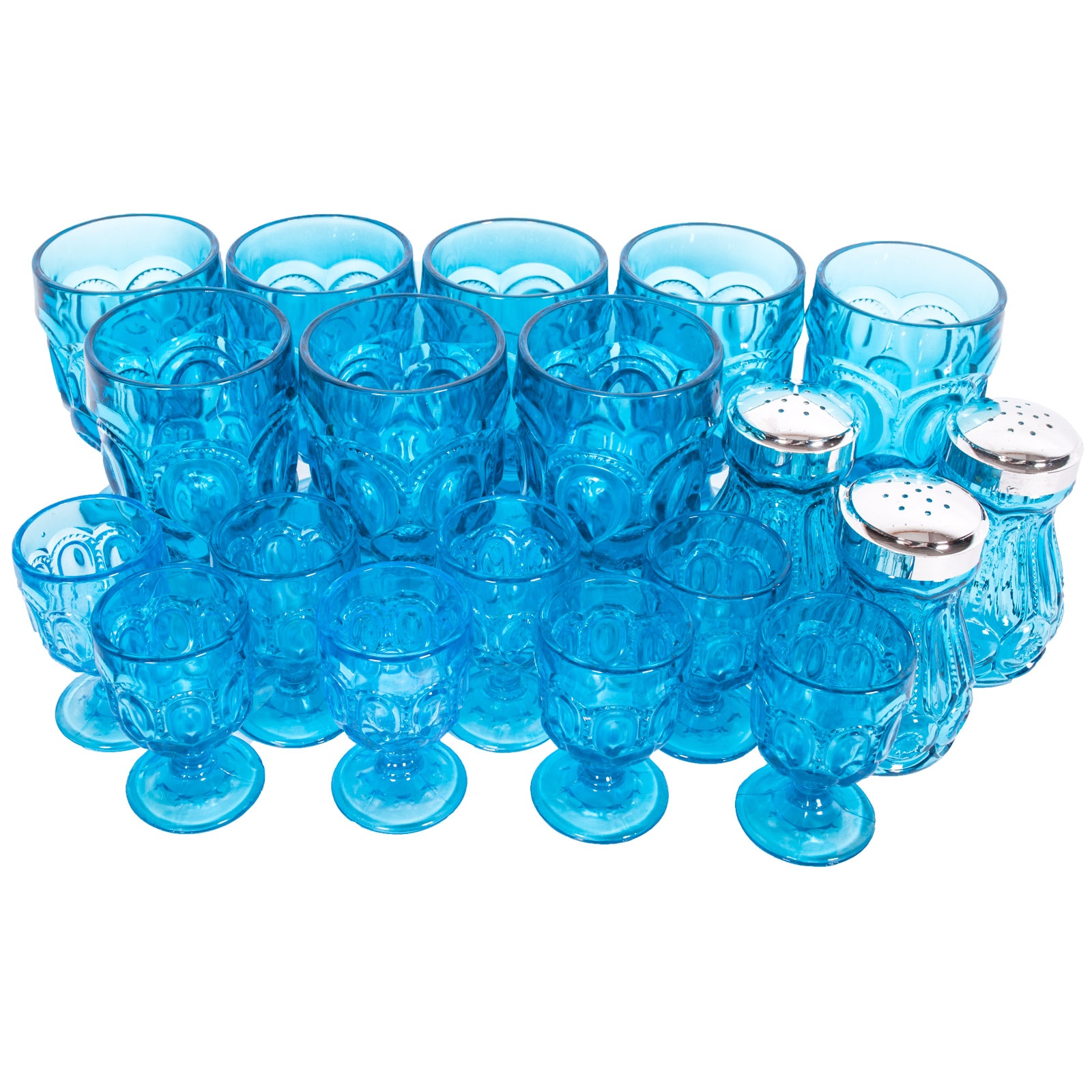 "L. E. Smith ""Moon and Stars"" Blue Glassware"