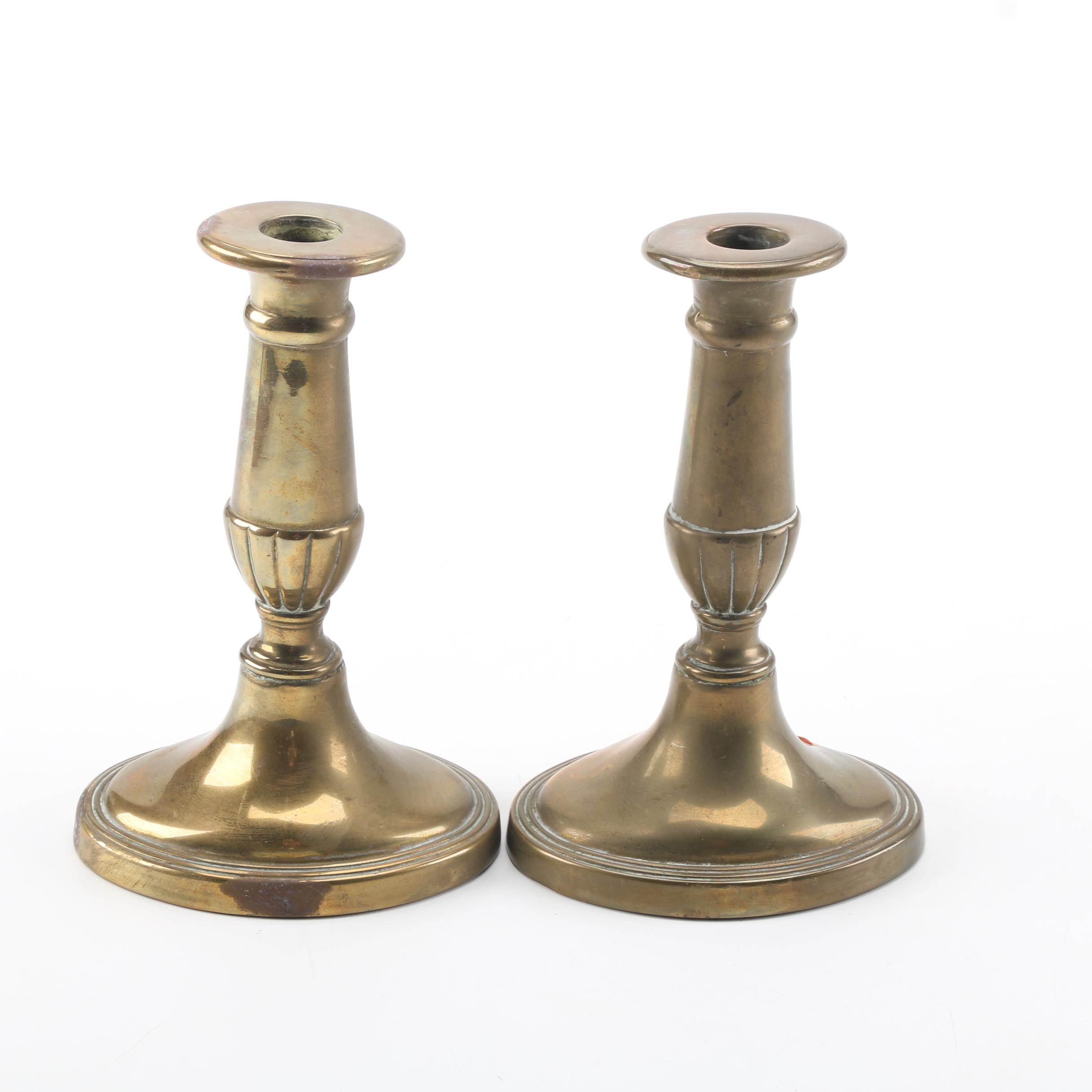 Vintage Push Up Brass Candle Holders