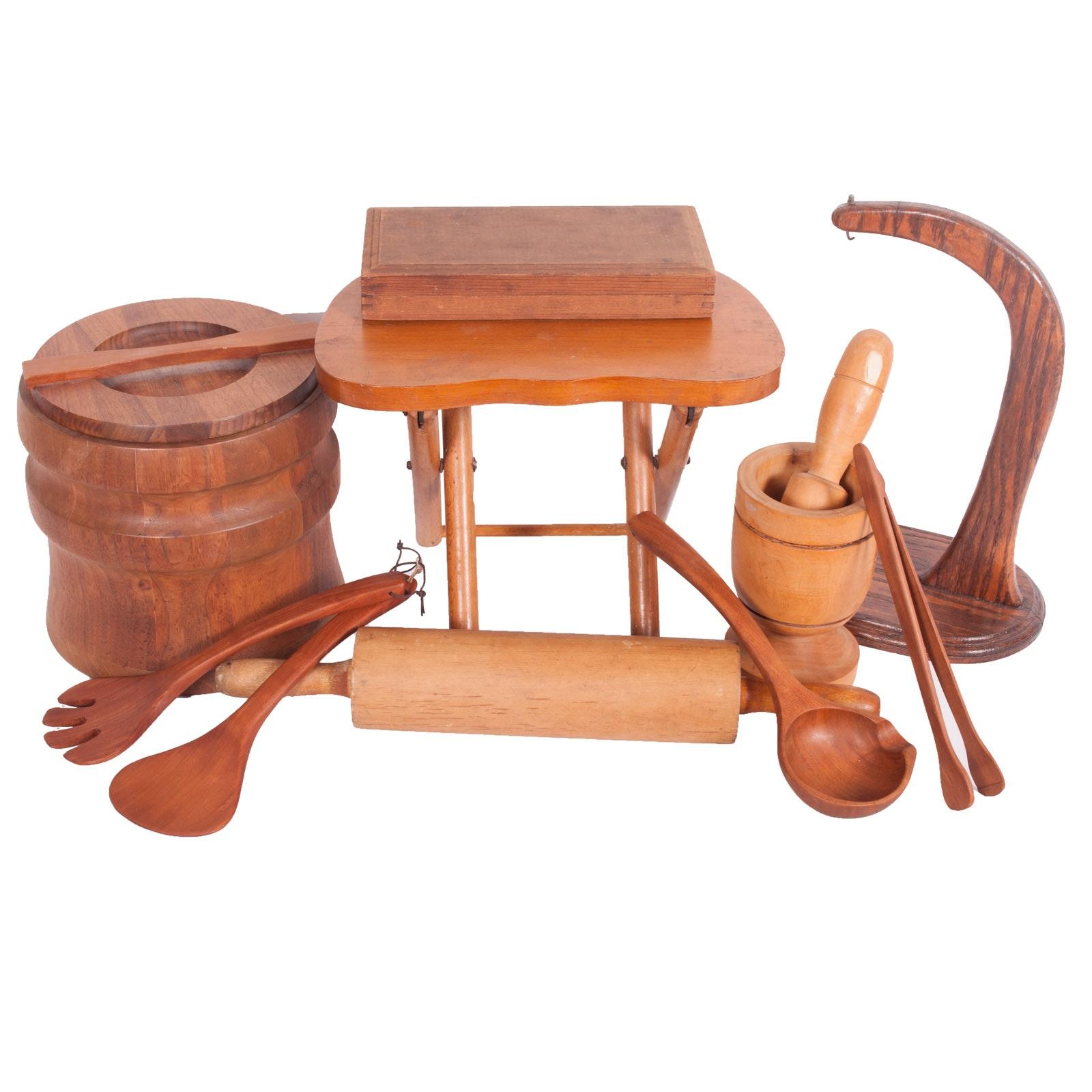 Mid Century Nevco Fold 'N Carry Stool and Vintage Wood Kitchenalia