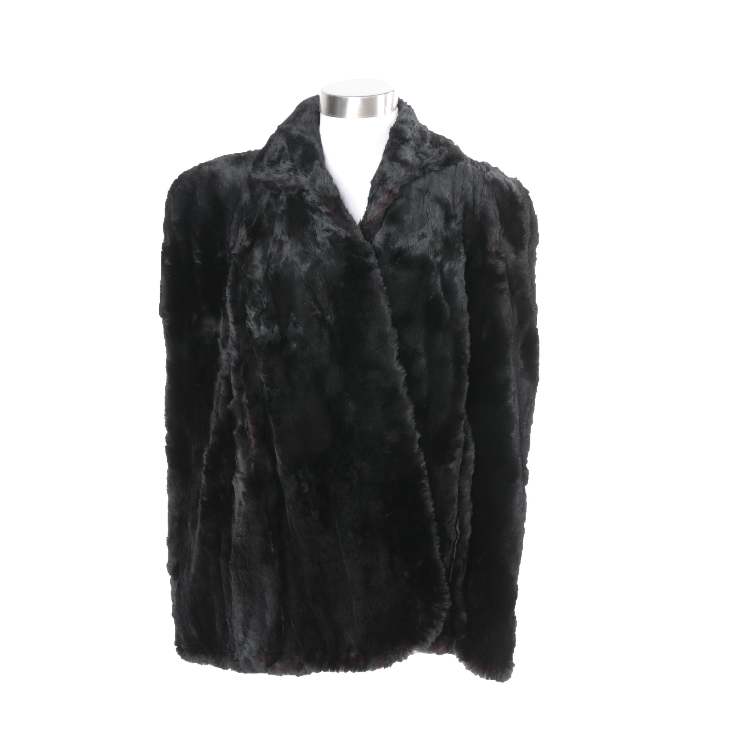Women's Vintage Sheared Dyed Black Beaver Fur Cape