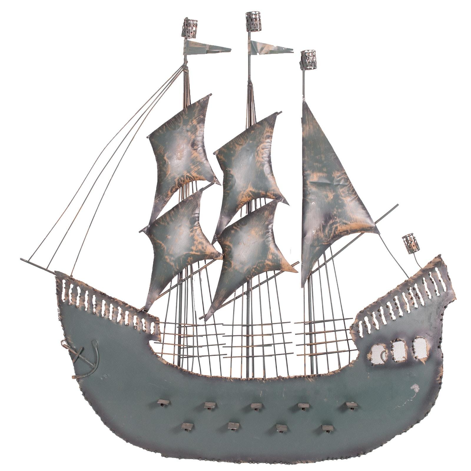 Galleon Ship Metal Wall Art
