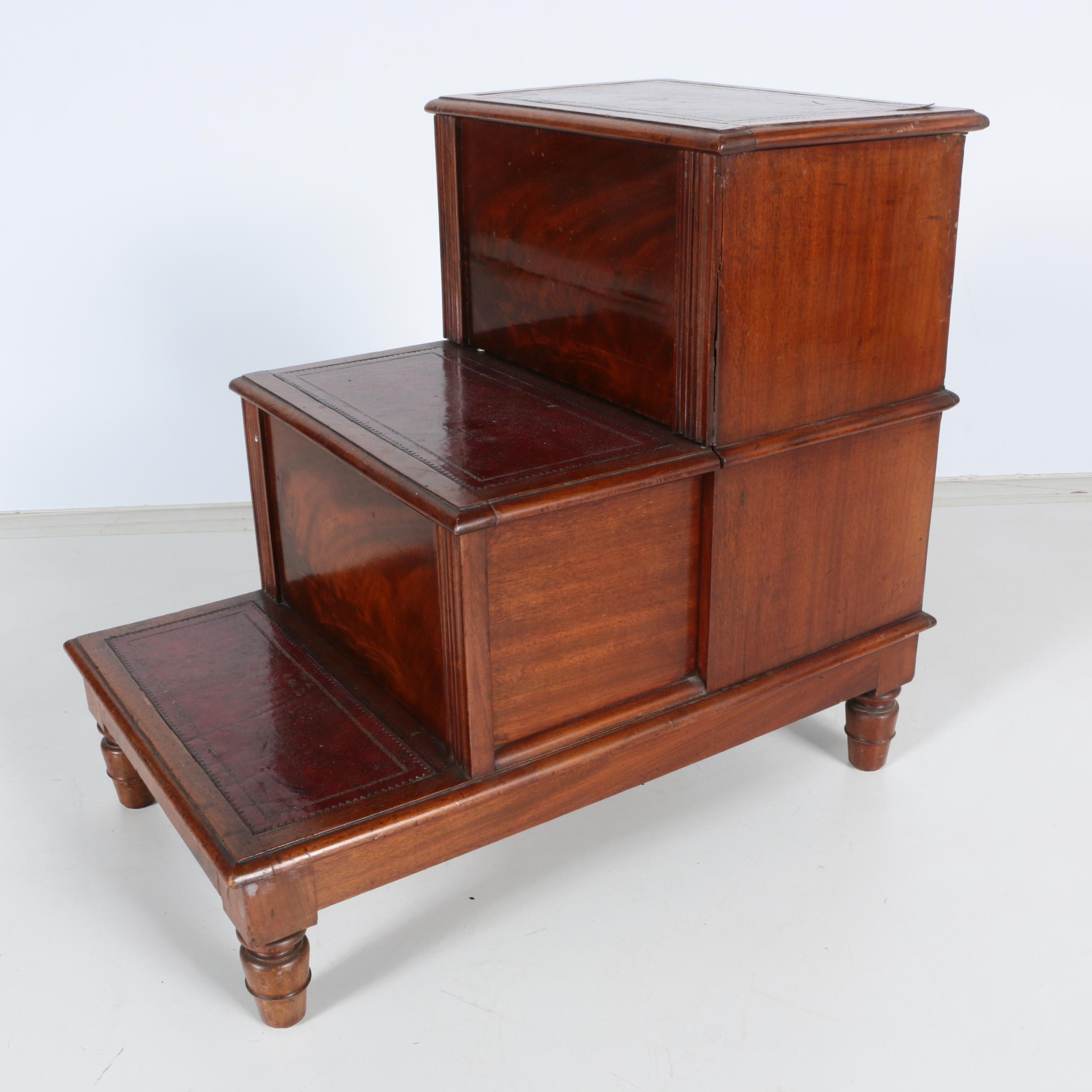 Vintage Walnut Library Step Side Table ...