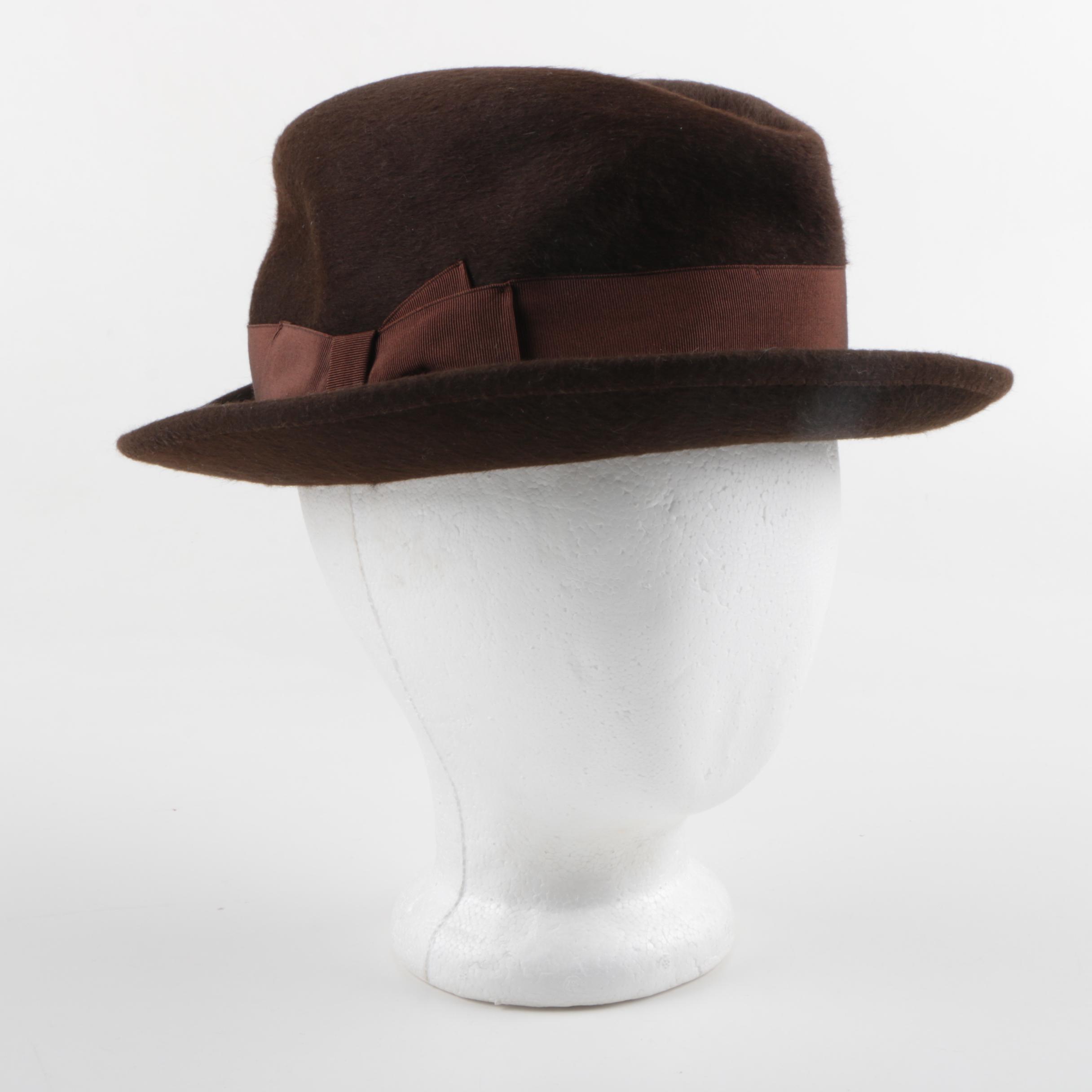 Men's Borsalino Italian-Made Brown Beaver Felt Hat