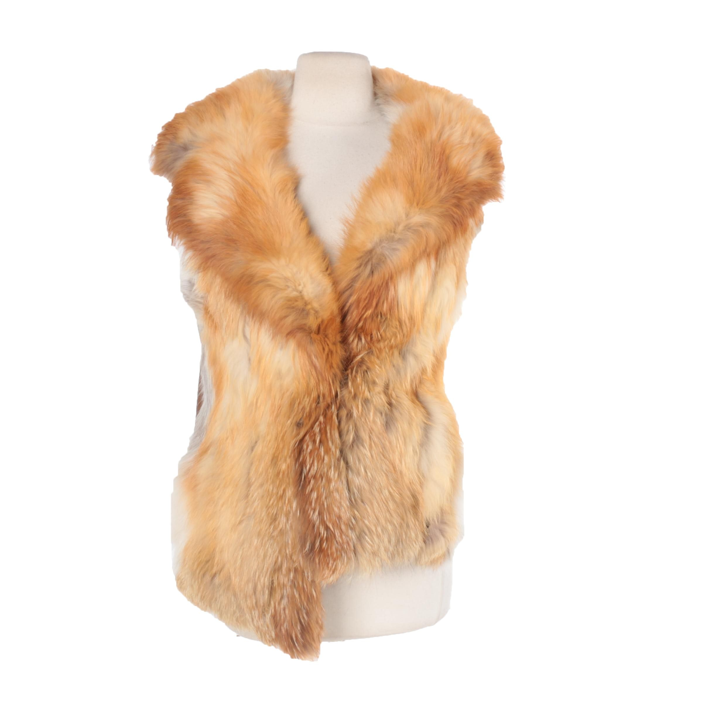 Women's Vintage Red Fox Fur Vest