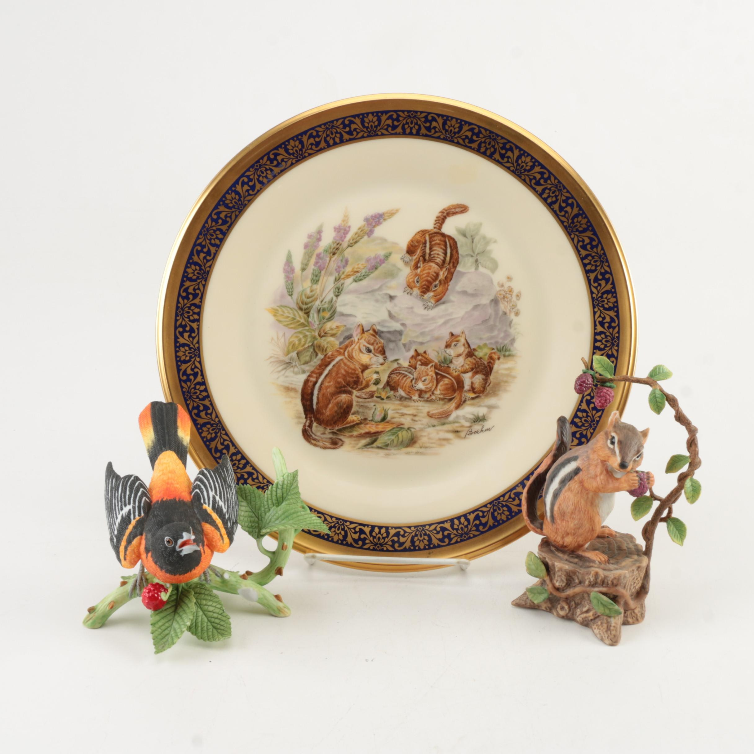 Lenox Baltimore Oriole and Chipmunk Themed Figurines and Decorative Plate