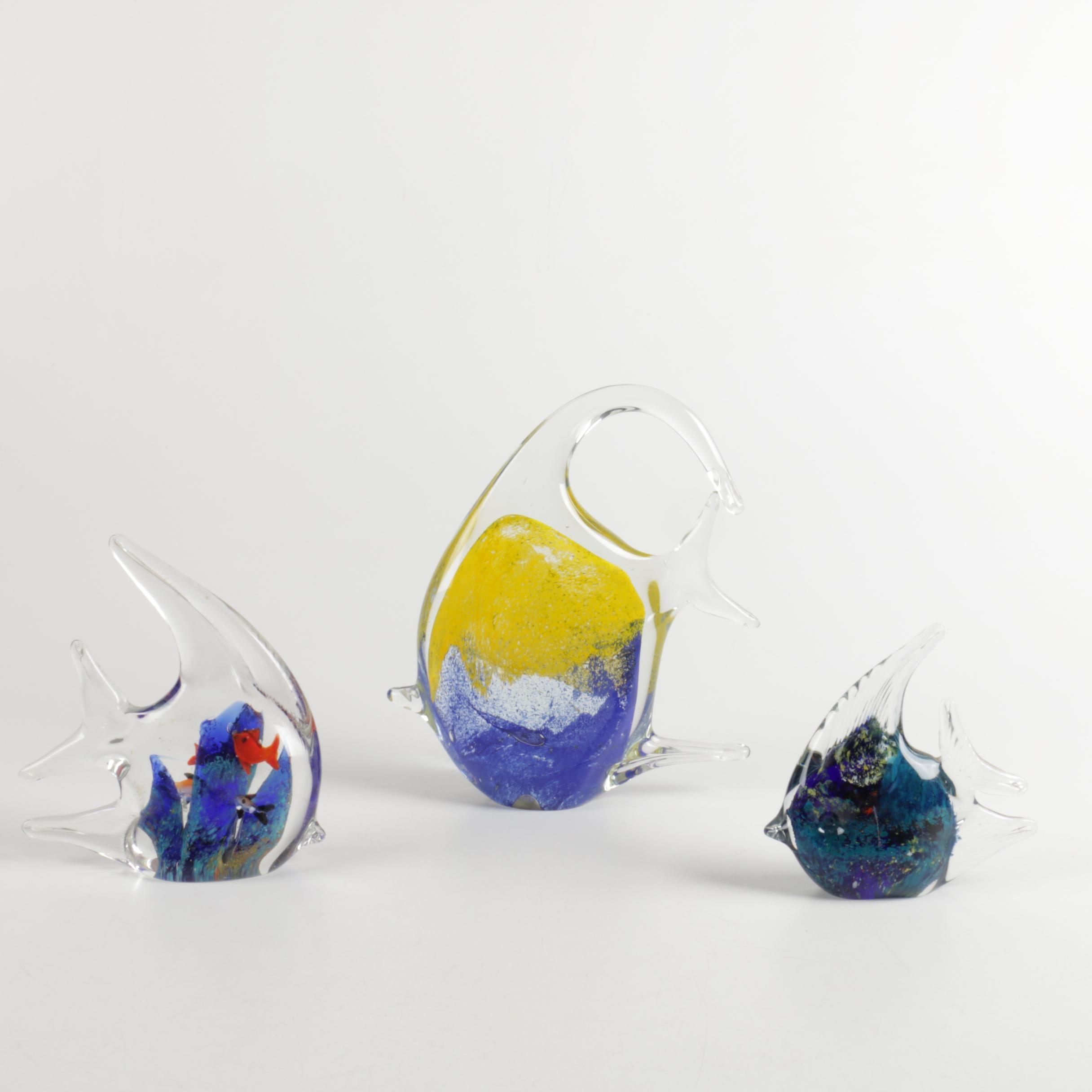 Fish Motif Art Glass Paperweights