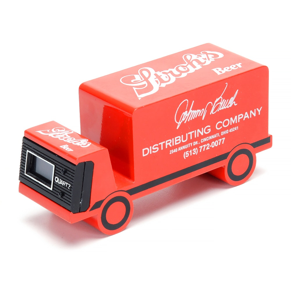 Johnny Bench Advertising Clock Beer Truck