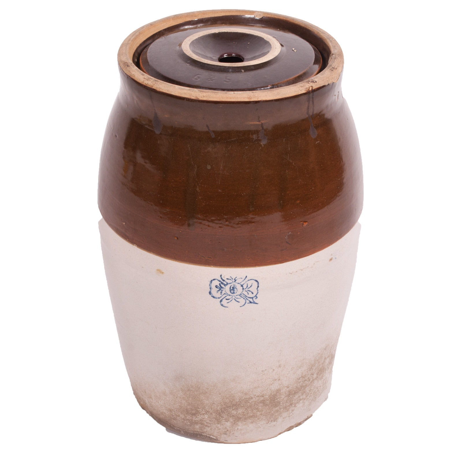 Antique Miller Pottery Stoneware Six-Gallon Butter Churn with Lid