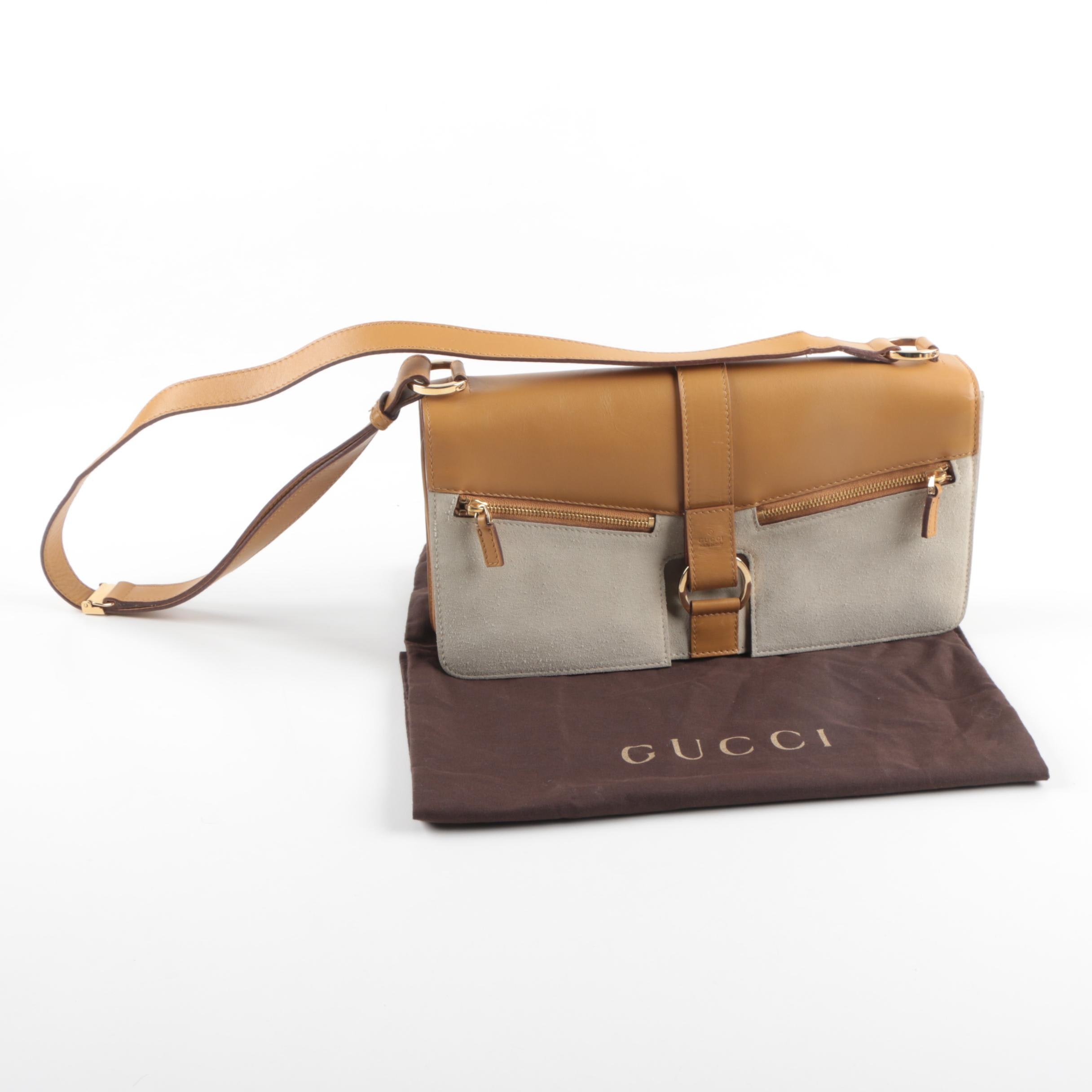 Gucci Leather and Suede Shoulder Bag