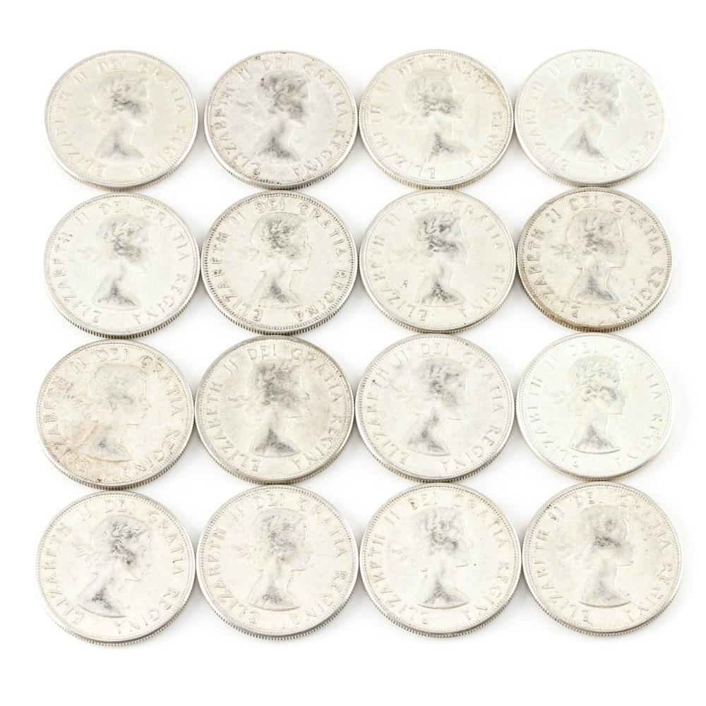 Sixteen Canadian Silver Half Dollars