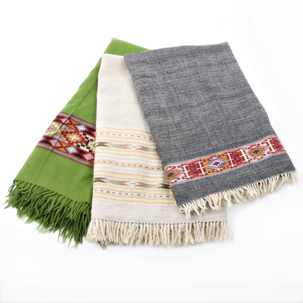 Three Hand Loomed Wool Textiles From Himachel Pradesh, India