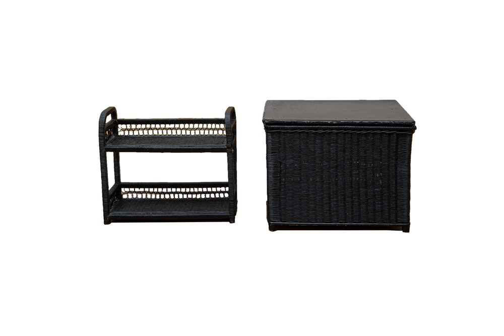 Wicker Filing Tray and Storage Container Set