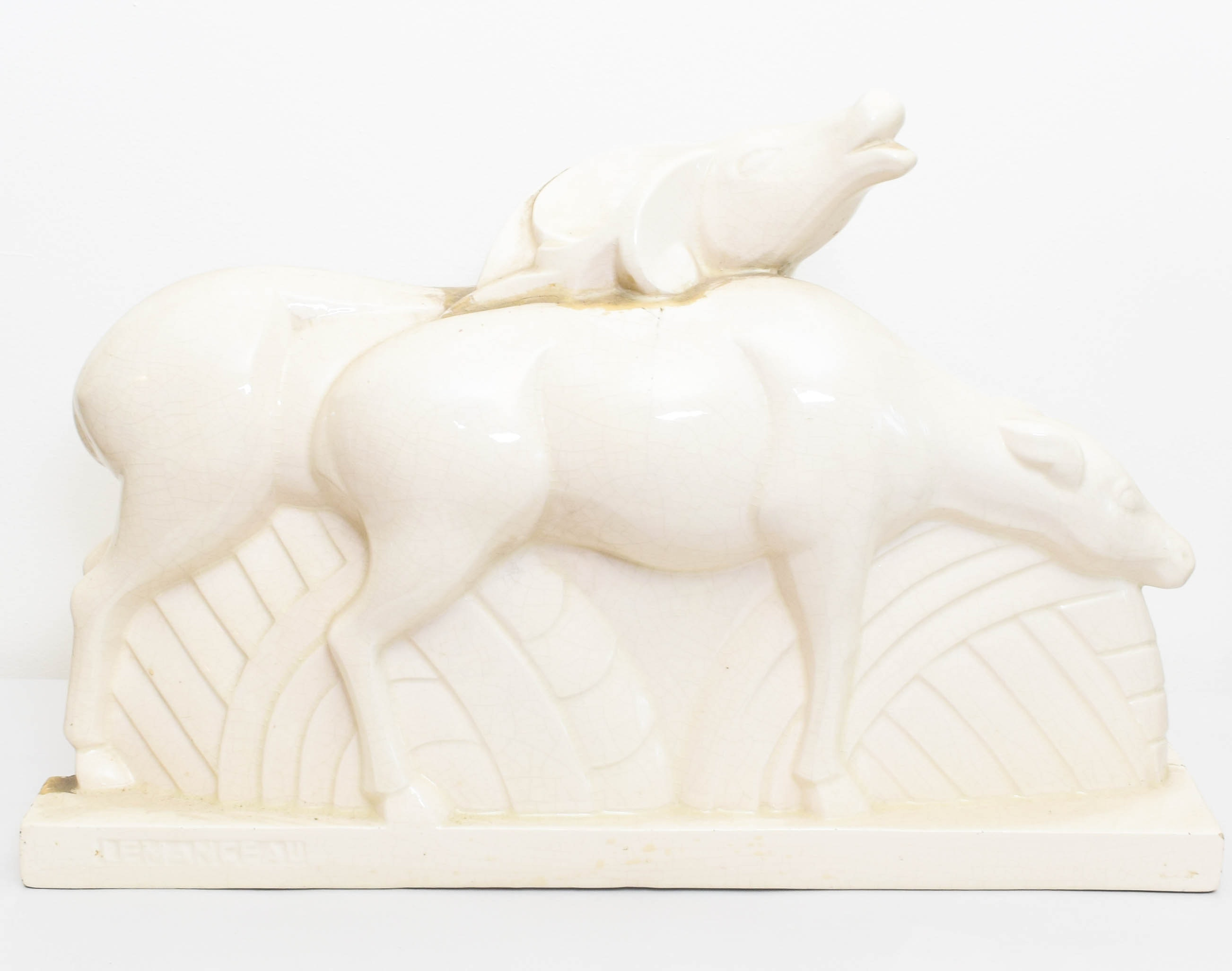 """Lemanceau for St. Clement French Craquelee """"Antelopes"""" Porcelain Figurine"""
