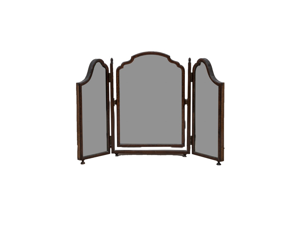 Three Panel Wood Framed Mirror