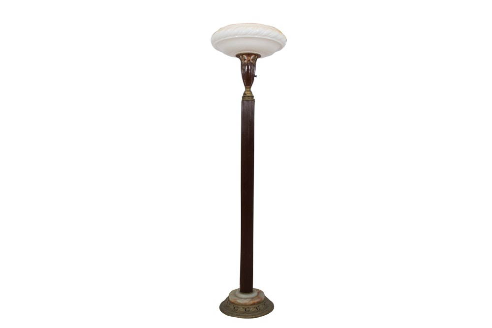 Metal Torchiere Floor Lamp with Glass Shade