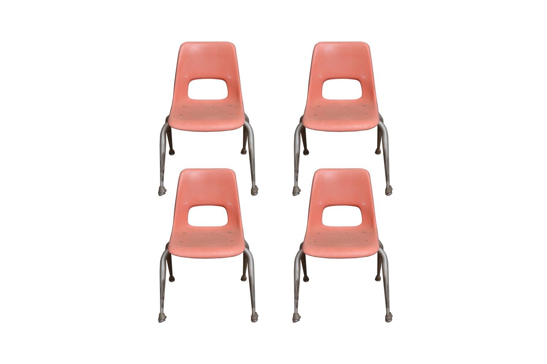 Vintage Mid Century Modern Fiberglass Student Chairs by Brunswick