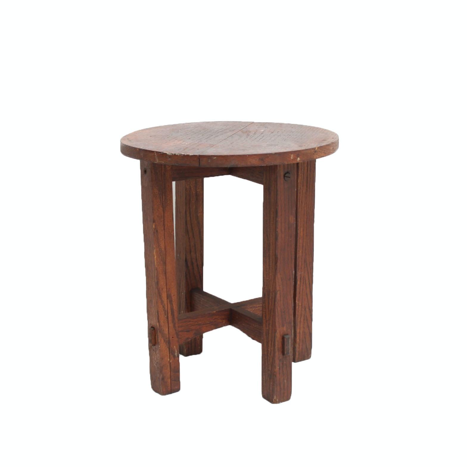 Vintage Mission Style Handmade Oak Accent Table