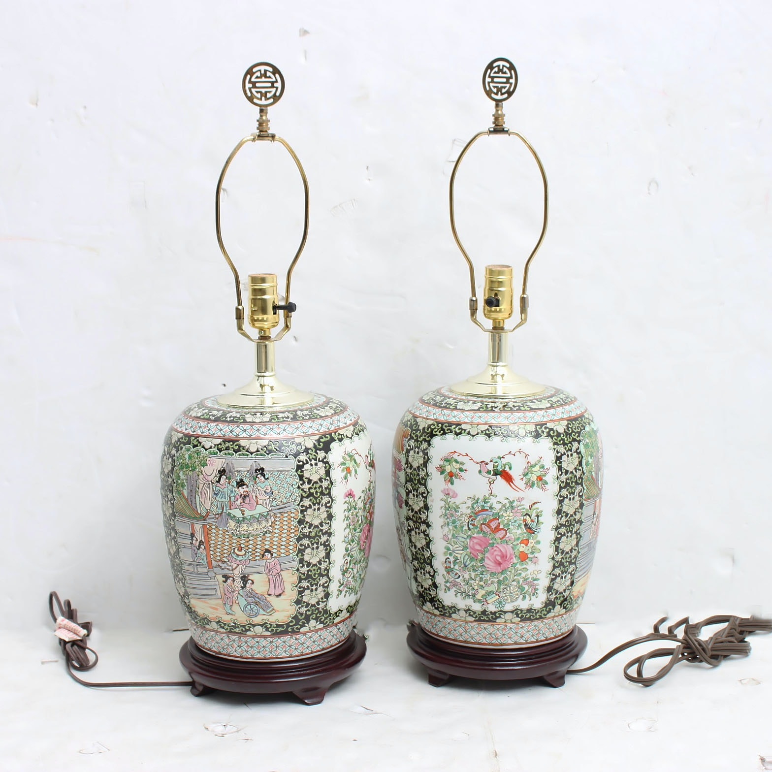 Chinese Famille Noir Hand Decorated Porcelain Table Lamps