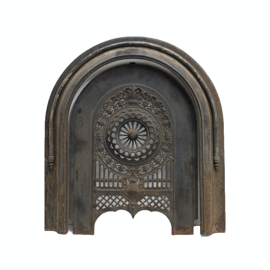 iron fireplace cover. Antique Cast Iron Fireplace Cover and Surround  EBTH
