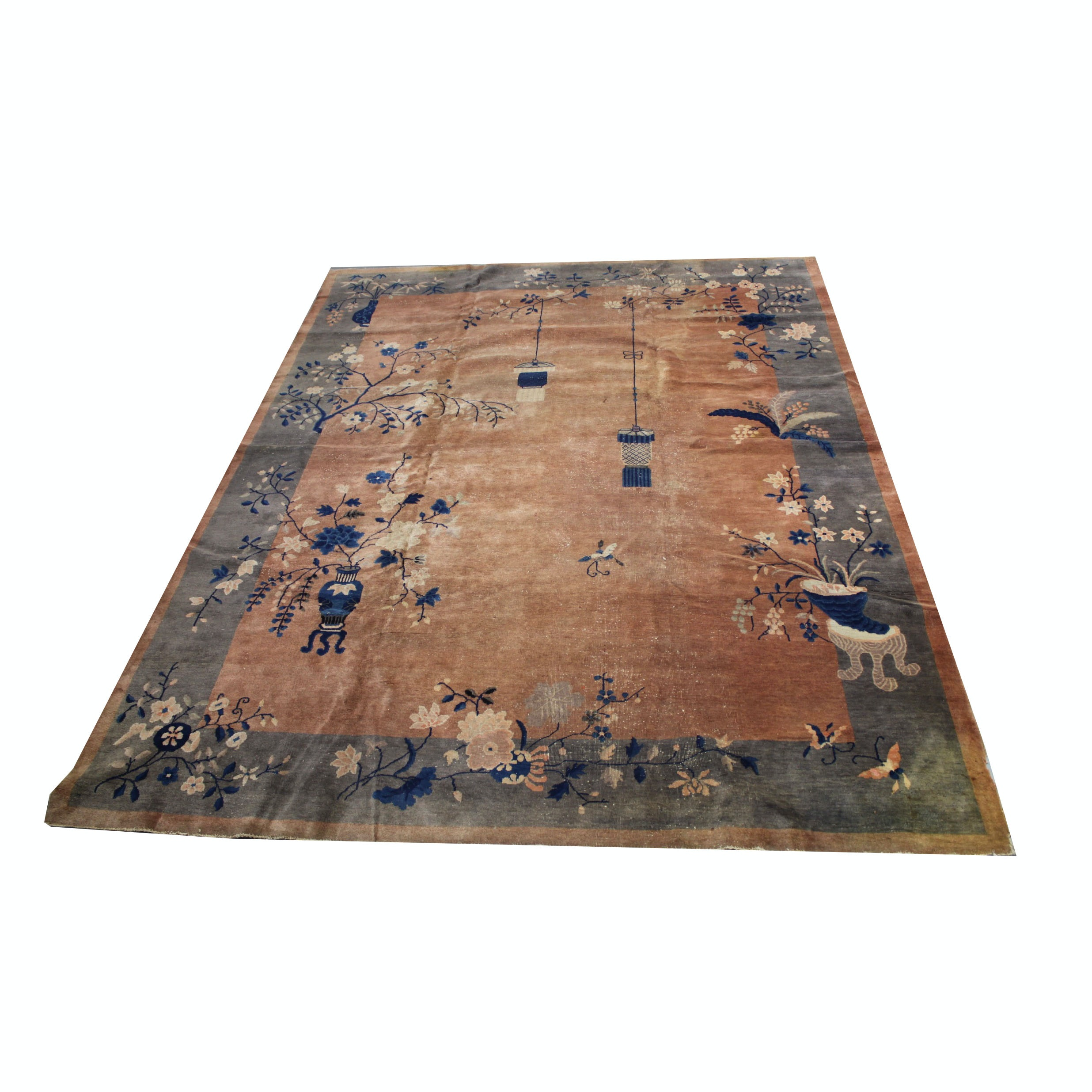Semi-Antique Hand-Knotted Chinese Nichols Wool Area Rug