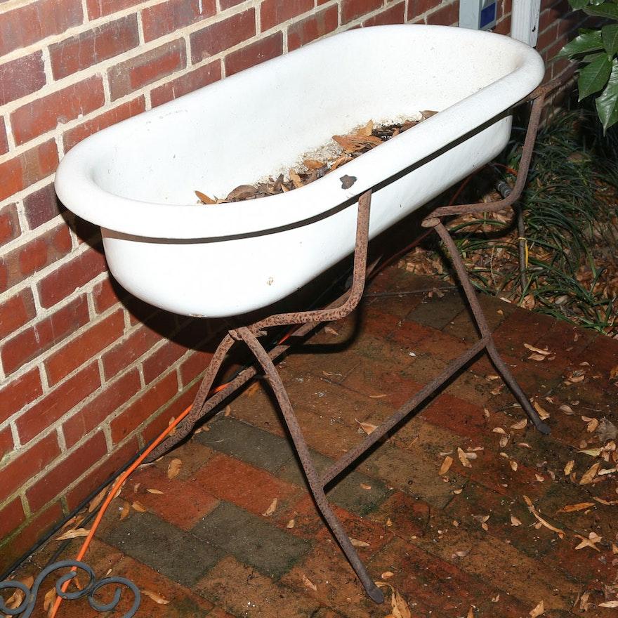 Antique European Infant Washtub on Stand : EBTH