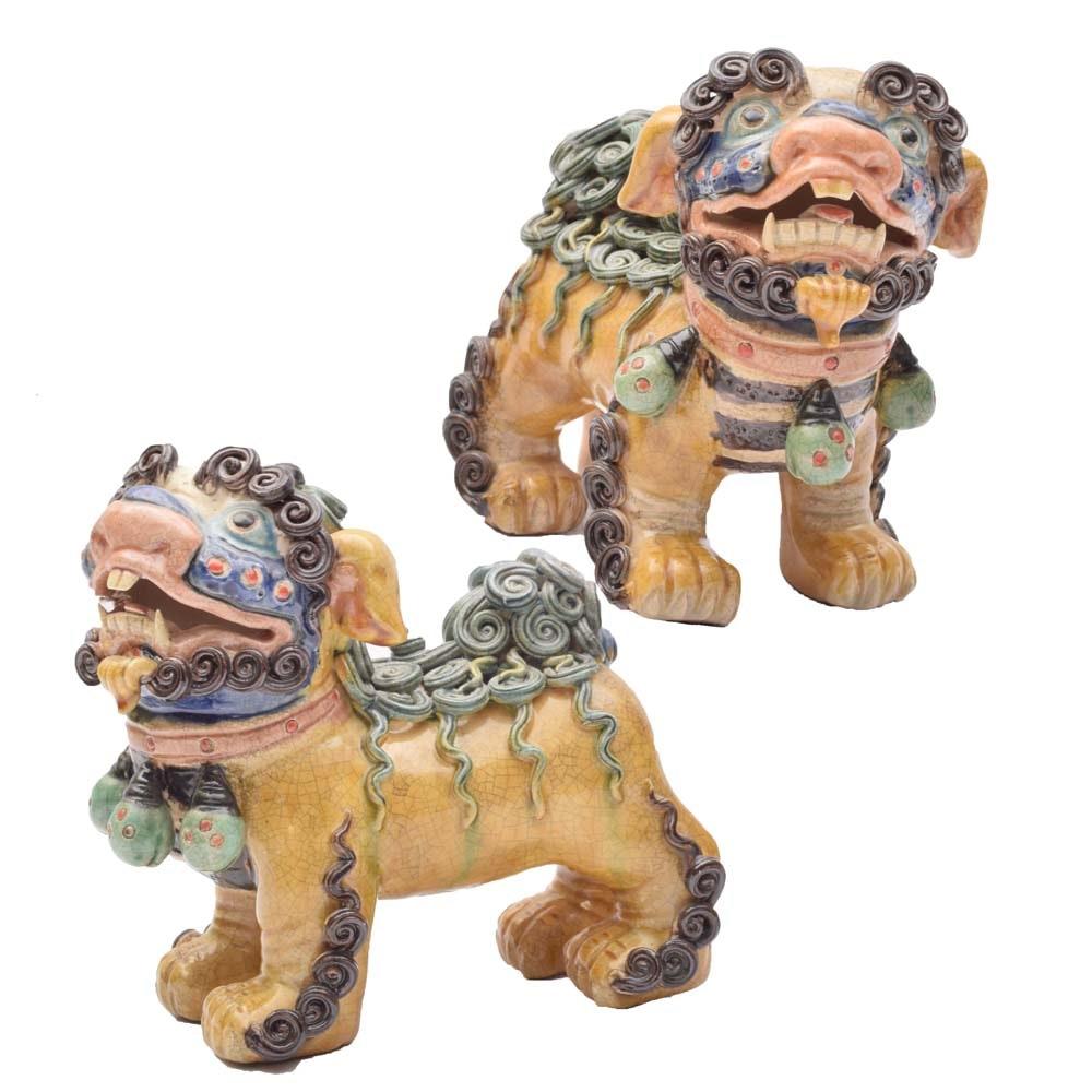 Ceramic Guardian Lion Figurines