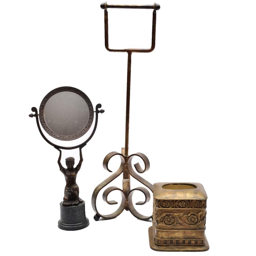 Vintage Brass Vanity Mirror and Gold Tone Bath Accessories