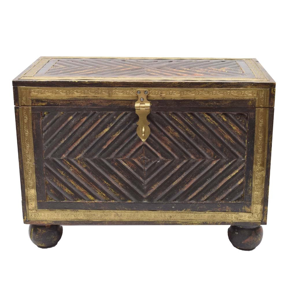 Petite Teak Carved Chest