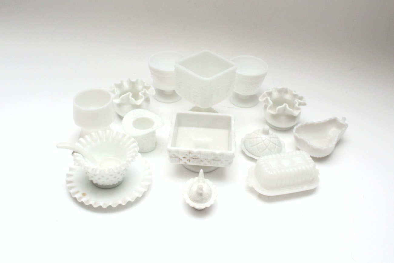 White Milk Glass Collection including Fenton