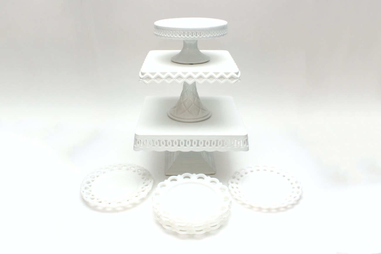 White Milk Glass Dessert Serveware