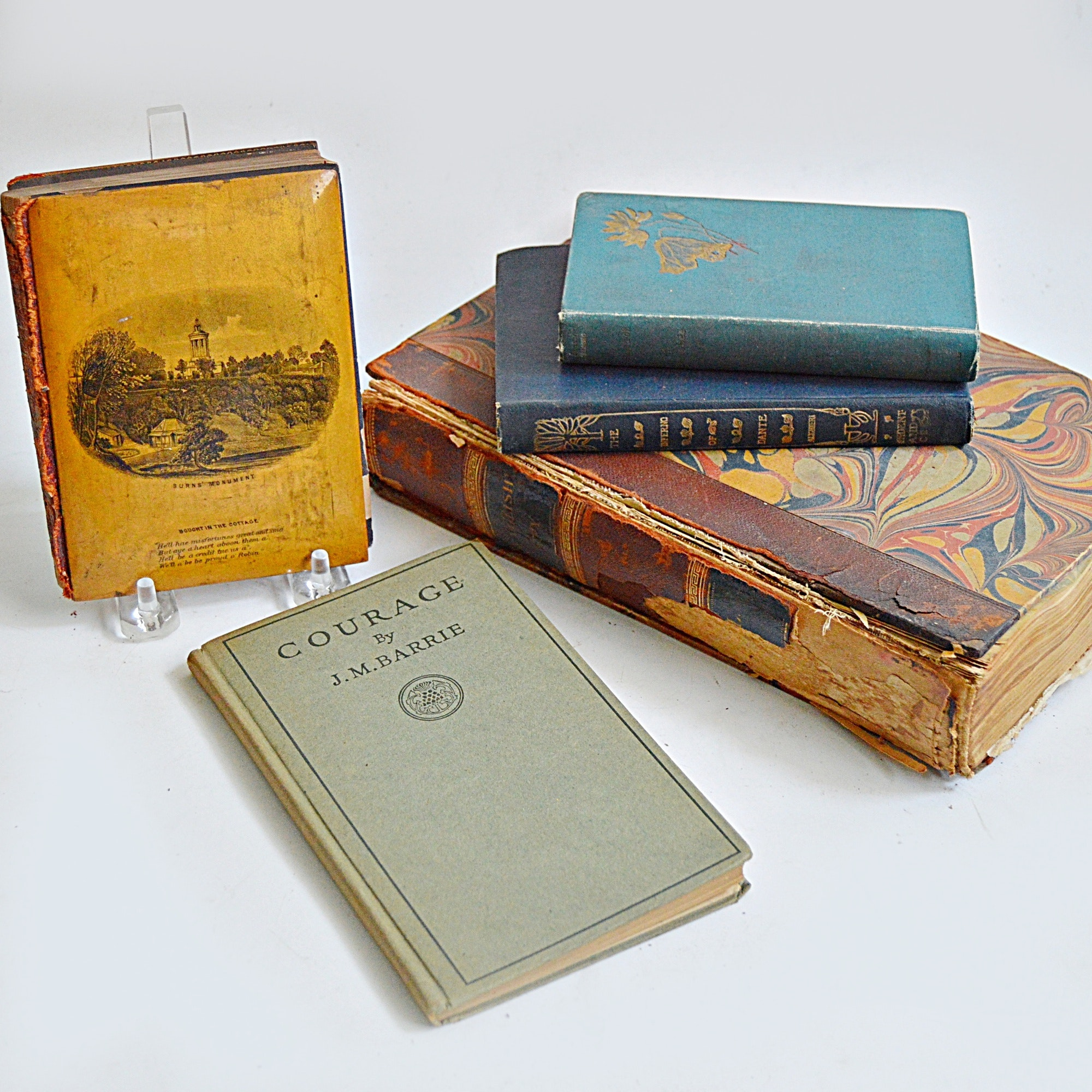 Antique Books with Robert Burns,  J.M. Barrie, Dante's Inferno Sixth Ed.