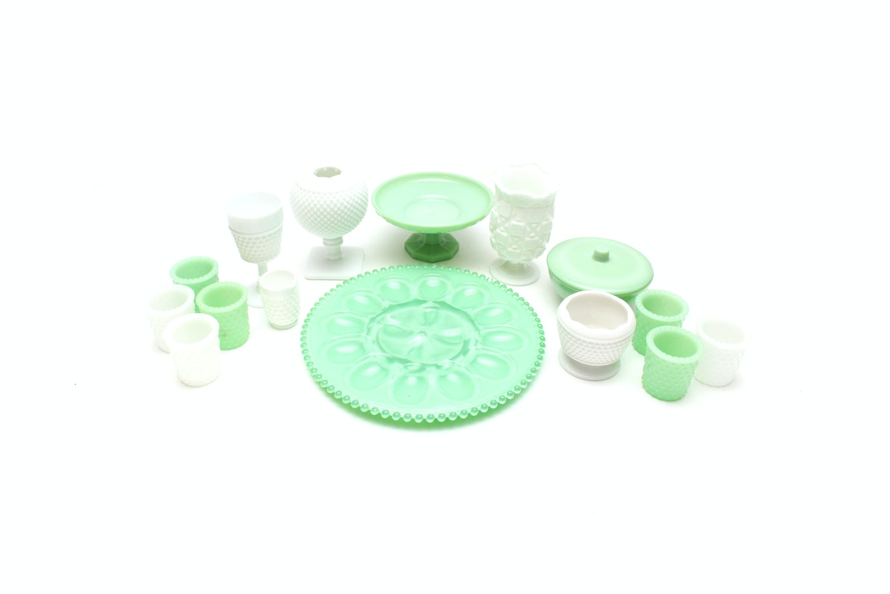 Jade-Green and White Milk Glass Collection