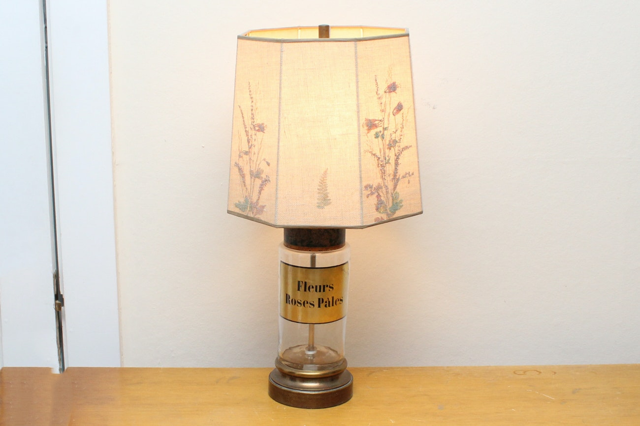 """Fleurs Roses Pâles"" Glass Table Lamp"