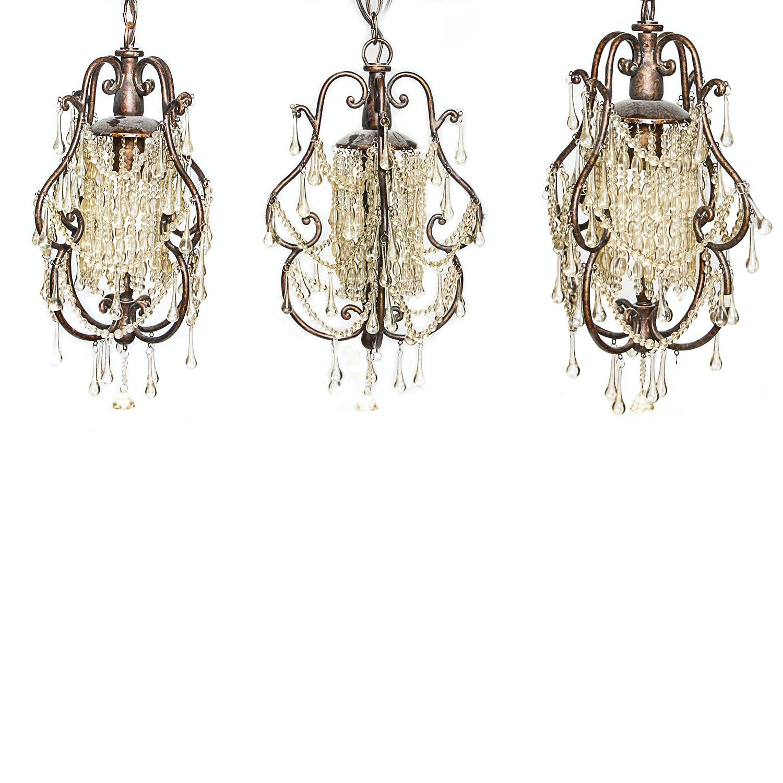 Decorative Pendant Lights with Glass Teardrop Prisms