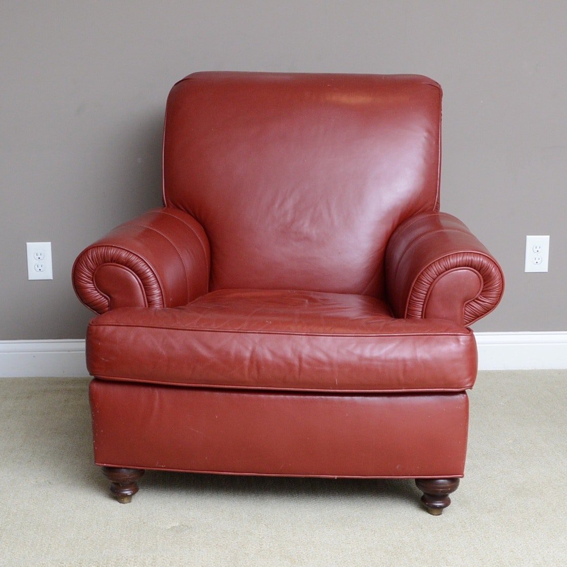 Bon Ethan Allen Red Leather Club Chair ...